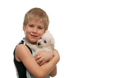 Portrait of a boy with a white puppy Stock Photos