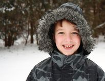 Portrait of boy in winter Stock Photo