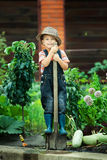 Boy working in the garden Stock Image