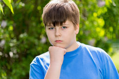 Portrait of boy of about 12 years in Park Royalty Free Stock Image