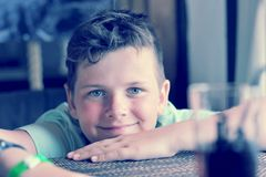 Portrait of boy 10 years with a sun-burnt nose Royalty Free Stock Image