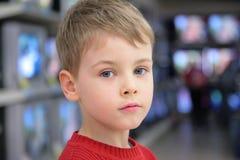 Portrait of boyon tv background Royalty Free Stock Photos