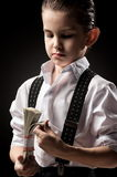 Portrait of a boys in an image of the gangsters Royalty Free Stock Images