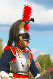 Portrait of a brave reenactor dressed as Napoleonic war soldier. Royalty Free Stock Photos