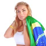 Portrait of Brazilian football fan Stock Images