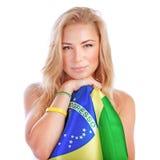 Portrait of Brazilian football fan Royalty Free Stock Image