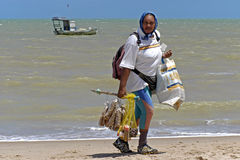 Portrait of Brazilian woman, beach vendor Royalty Free Stock Image