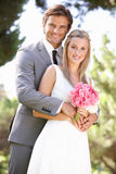 Portrait Of Bridal Couple Outdoors Royalty Free Stock Images