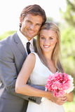 Portrait Of Bridal Couple Outdoors Royalty Free Stock Photography