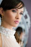 Portrait of a bride. Portrait of a beautiful bride in a wedding dress stock images