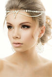 Portrait of the bride with beautiful hairstyle on Stock Photos