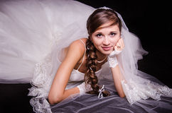 Portrait of a bride on black background Royalty Free Stock Images