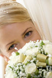 Portrait of Bride with Bouquet Stock Image