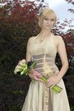 Portrait of bride with bouquet Stock Photos