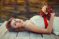 Portrait of the bride with a bouquet Stock Photos