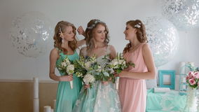 Portrait of the bride and bridesmaids stock video footage
