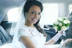 Portrait of the bride in the car, tinted Royalty Free Stock Photos