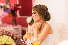 Portrait of bride. Celebration, wedding reception in a restaurant. Stock Photo