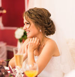 Portrait of bride. Celebration, wedding reception in a restaurant. Royalty Free Stock Photo