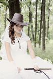 Portrait bride in a cowboy hat, tinted Stock Photography