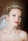 Portrait of the bride on a dark bacground stock photo
