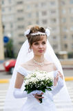 Portrait of a bride with flowers Royalty Free Stock Photo