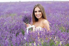 Portrait of bride girl with bouquet at lavender Stock Photos