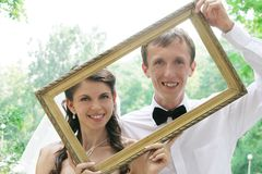 Portrait of bride and groom Royalty Free Stock Photo