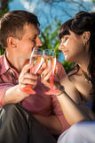 Portrait of bride and groom clinking glasses with champagne at p Royalty Free Stock Photography