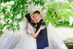 Portrait of the bride and groom in nature, happiness, family, relationships, youth, lifestyle Royalty Free Stock Image