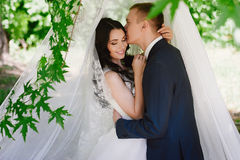 Portrait of the bride and groom in nature, happiness, family, relationships, youth, lifestyle Royalty Free Stock Images