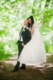 Portrait of the bride and groom in nature, happiness, family, relationships, youth, lifestyle Stock Images