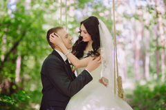 Portrait of the bride and groom in nature, happiness, family, relationships, youth, lifestyle Stock Image
