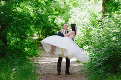 Portrait of the bride and groom in nature, happiness, family, relationships, youth, lifestyle Stock Photos