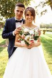 Portrait of the bride and groom in nature, beautiful couple in love royalty free stock images