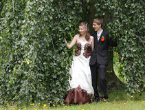 Portrait of bride and groom in summer park Royalty Free Stock Photo