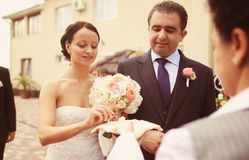 Portrait of a bride and groom wedding day Stock Images