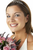 Portrait Of Bride Holding Bouquet Of Flowers Stock Photography