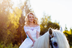 Portrait of a bride on horseback Royalty Free Stock Images