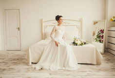 Portrait of the bride indoor Royalty Free Stock Photos