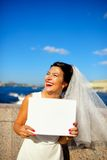 Portrait of a bride with plate on quay Neva river, Saint-Petersburg Stock Image