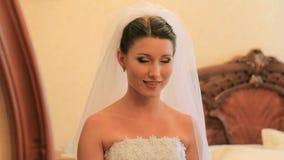Portrait Of Bride. Bride preparing for the ceremony stock video