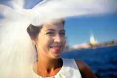 Portrait of a bride on quay Neva river, Saint-Petersburg Stock Images