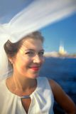 Portrait of a bride on quay Neva river, Saint-Petersburg Royalty Free Stock Photos