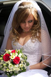 Portrait of the bride sitting stock image