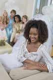 Portrait Of Bride Sitting On Sofa Royalty Free Stock Photography
