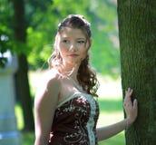 Portrait of bride in summer park Stock Image