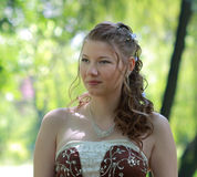 Portrait of bride in summer park Royalty Free Stock Images