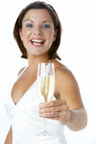 Portrait Of Bride Toasting With Wine Glass Stock Image