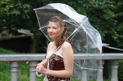 Portrait of bride with umbrella Stock Photos
